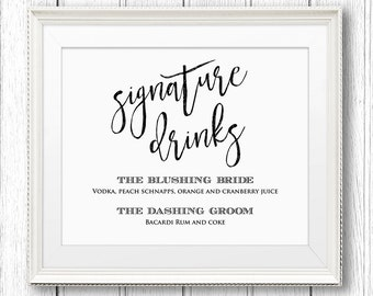 Wedding Signature Drinks Sign, Instant Download, Editable Text, Printable Wedding Signature Cocktail Sign, PDF Template, Digital #SW13