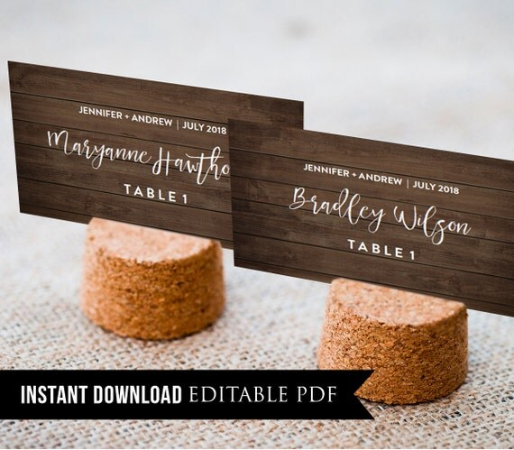 Wedding Place Card Template, Rustic Wood Seating Cards, Name Cards, DIY Printable, Instant Download, Editable Text, PDF Template, Digital