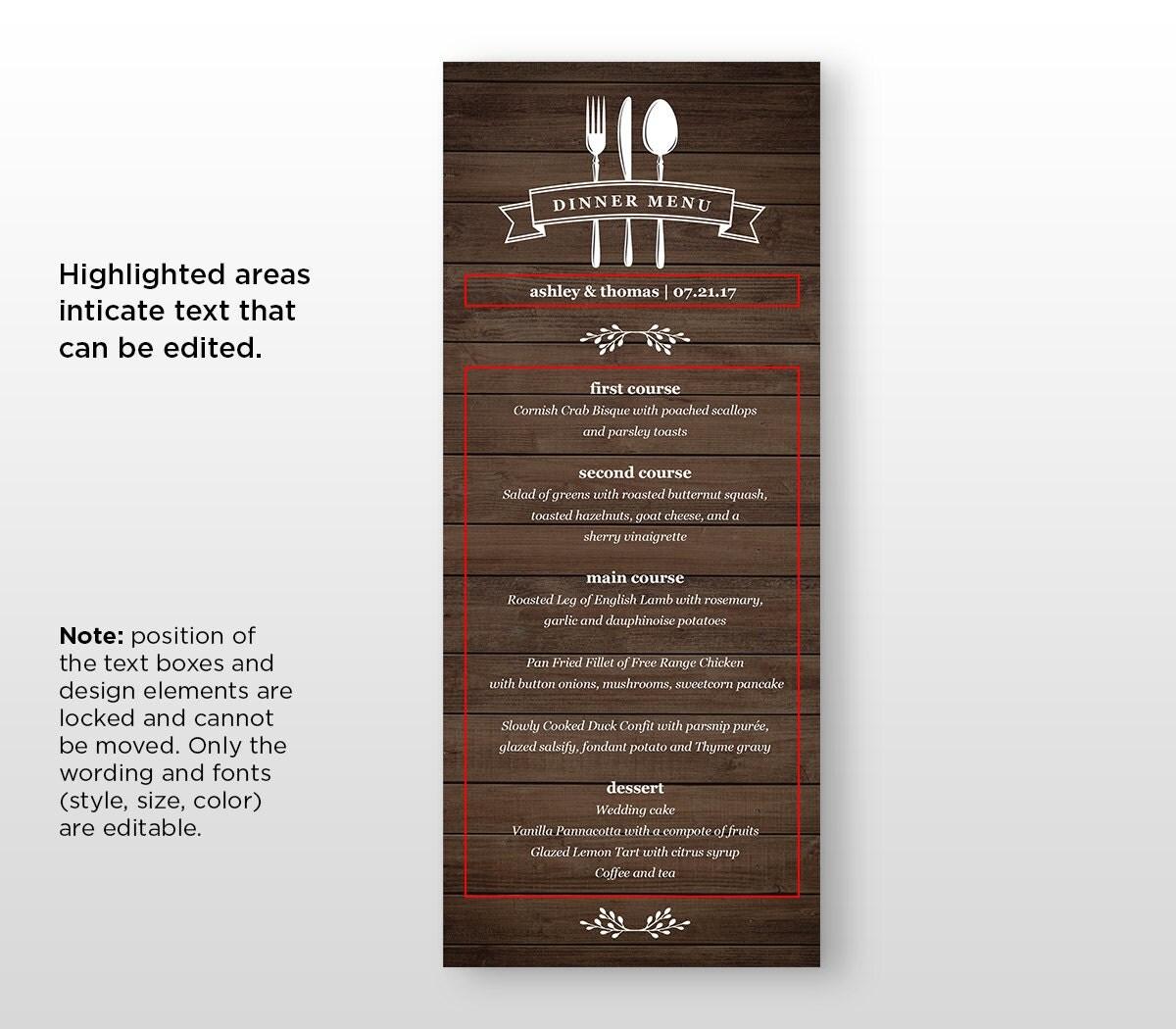 Dinner Menu Card Template Printable Wedding Menu INSTANT – Dinner Card Template