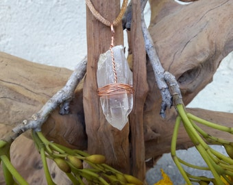 Lemurian Seed Quartz Crystal Point Pendant Wire Wrapped in Copper, Metaphysical, New Age