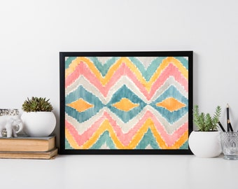 SALE* Tribal Pattern Watercolour Painting A3