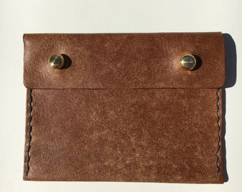 Brown Tan Pouch Purse Made From Italian Leather. Coin and card holder!