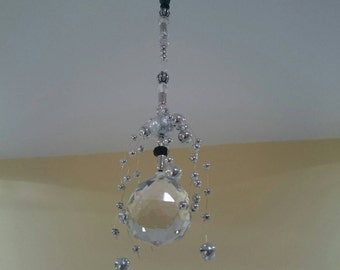 Handmade Prism Suncatcher on a decorative beaded crystal chain
