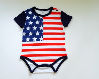 Patriotic American Flag Baby Creeper