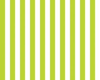 Riley Blake Half Inch Stripe, White on Lime, fabric by the yard