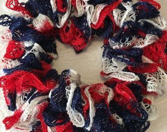 Red/White & Blue Frilly Scarf