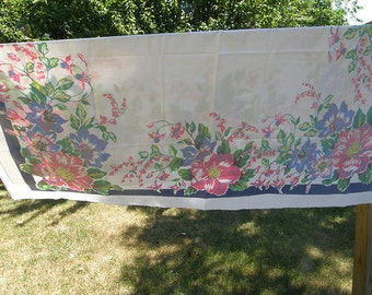 Vintage Floral Tablecloth -- Graphic & Colorful