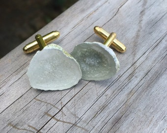 Raw Geode cufflinks, made for the man who cares about his looks, Gift boxed and ready to give to your best guy