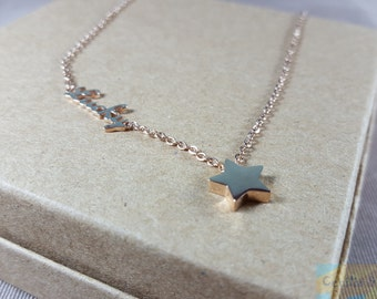 Rose Gold Necklace, Delicate Star Necklace, Lucky Charm Necklace, Gift for Her, Birthday Gift