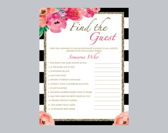 find the guest bridal shower game, black and white bridal shower game, find the guest game, flower bridal shower game, bridal games