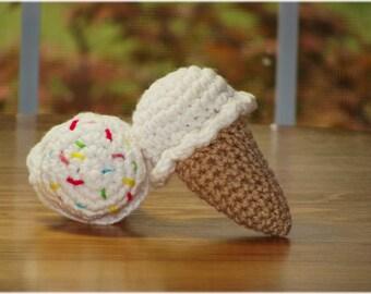Crochet Ice-cream, Crochet Food, Play Food, Kitchen Play, Learning Toy, Pretend Play, Pretend Food, Ice-cream Plushie, Stuffed Ice Cream,Ice