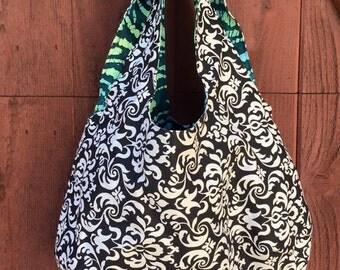 24 - Black & White Hobo Bag, Seasonal, Gift, Medium, Purse, Handbag