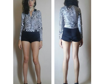 psychedelic black and white spandex vintage romper size small