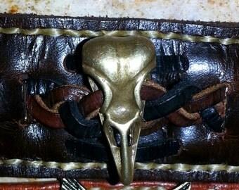 Leather Raven Skull Bracelet