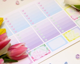 MMF1CB//The one with the Flowers 1//Ombre Check Boxes//Planner Stickers Erin Condren//Vertical//1 Sheet//Matt-Matte Vinyl Stickers//ECLP