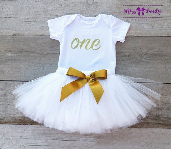 Crisp White and Vintage Gold first birthday outfit, first birthday outfit, first birthday girl outfit, white & gold birthday tutu