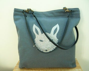 Tote bag in gray cotton and animal head