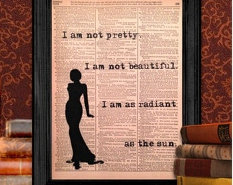 I Am As Radiant As the Sun, from the Hunger Games bySuzanne Collins, Vintage Wall Art, Recycled, Upcycled, 8.5x11 Print