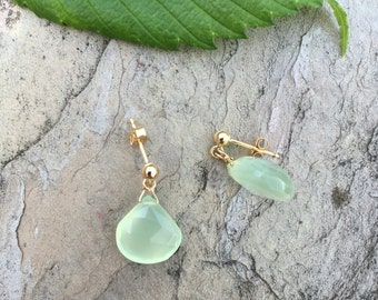 Seafoam Green Chalcedony Drop Post Earrings, Simple Modern Earrings, Gift from Son, Beachy Earrings, Seafoam Earrings, Dainty Earrings