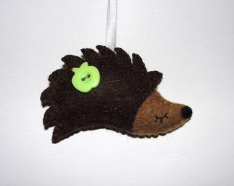 Wool Felt Hedgehog Ornament, Hedgehog Ornament, Baby Shower Gifts, Nursery, Birthday Gift, Tree Ornament, Wall Decor, Gift