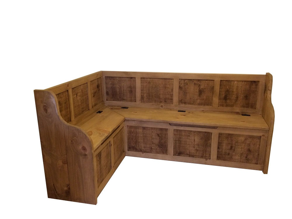 Large rustic style corner dining bench with storage can be Corner dining table with bench