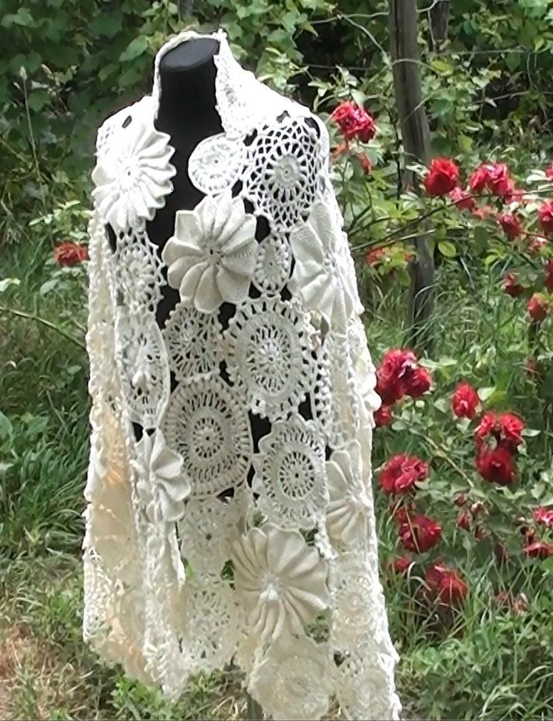 Irish Crochet Wedding Scarf Crochet Lace Crochet Irish Lace