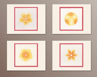 A2 Notecards, Handmade, Floral watercolors, set of 4, yellow, red, thank you notes, hostess gift
