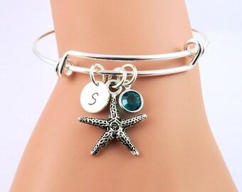 Silver Starfish Bangle Bracelet, Personalized Bangles, Starfish Jewelry, Personalized Bracelet, Initial Birthstone Jewelry, Aquatic Jewelry