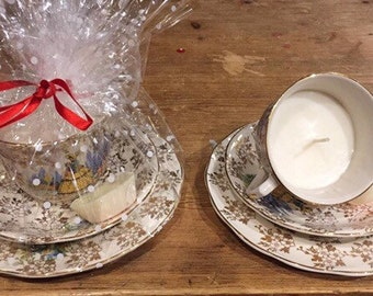 Cup and saucer candle, antique cup and saucer, vanilla and lavendar candle, unique gift, birthday gift, christmas present, teacup candle