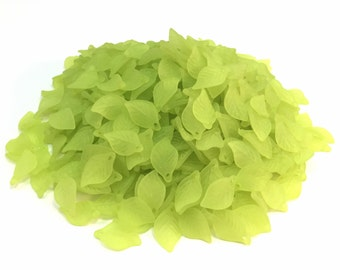 Acrylic Frosted Leaf Drops/Beads - Green - 18x10.7 mm