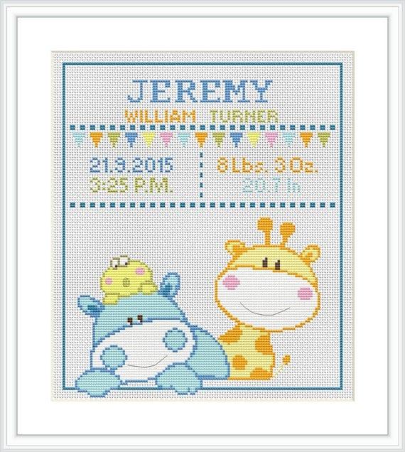 Cross Stitch Pattern Baby Birth Announcement Animal Giraffe