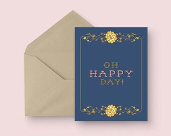 Bridal Shower Card - Oh Happy Day! - Wedding Shower Card - Rustic Floral Shower Card - Vintage Floral Card - Blank Inside - Illustrated