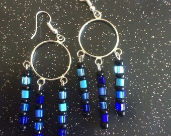 Silver Hoop Earrings with blue and black dangles