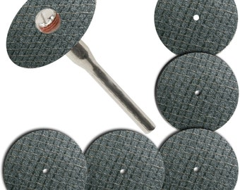 "5 pieces 1-1/4"" Fiberglass Reinforced Cut Off Wheel Disc w/ 1 Large Heavy Duty Mandrel 1/8"" Fits Dremel Tool Foredom, Craftsman Rotary Tools"