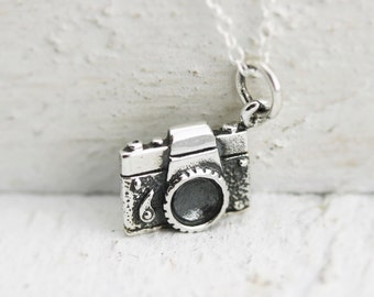Camera Necklace - Sterling Silver Camera Necklace - Tiny Camera Necklace  Photographer Gift  Traveler Jewelry  Camera Jewelry  Photography