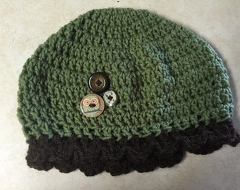 Crochet Green hat with Buttons