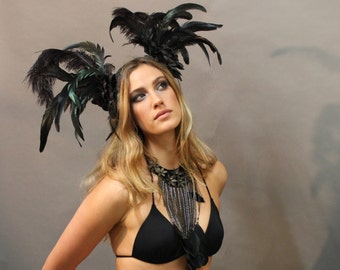 Night Fairy Black Feathered Headpiece By ShapeShifters