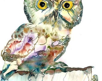 """Owl watercolor painting great Colorful owl  bird Painting Original Watercolor  Art  Print - 9x13"""" Modern wall art home Décor"""