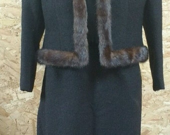 True Vintage 50s/60s Brown Suit With Mink Trim