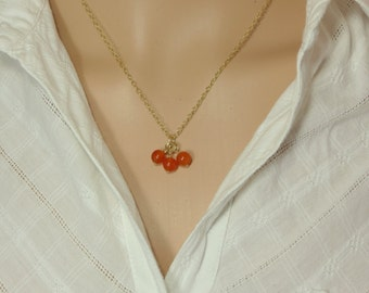 Karneol Beads Goldfilled Necklace, Natural Gemstone Necklace, Minimalist Jewel, Dainty Karneol Beads Necklace, Beads Cluster Necklace, Gift.