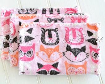 Baby Flannel Burp Cloth // Ragged Edge Burp Cloth // Set of 3 // Pink Forest Animals // Fox Bear Raccoon Owl