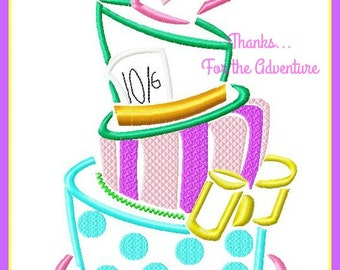Mad Hatter's from Alice in Wonderland Un Birthday Cake Sketch Digital Embroidery Machine Design File 4x4 5x7 6x10