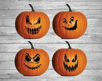 Jack-O-Lantern Decals, DIY Pumpkin Vinyl, Halloween decals