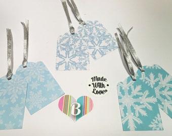 Christmas Snowflake Gift Tags, Blue And White, Printed Artwork