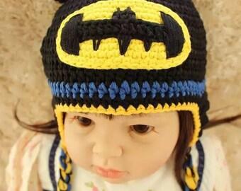Handmade crochet batman baby/toddler hat