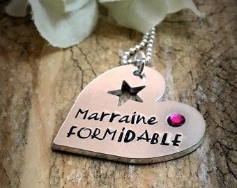 Hand Stamped Personalised French Marraine Formidable, Heart Message Pendant Godmother