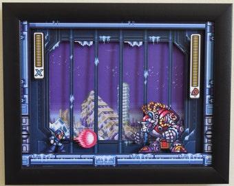 "Mega Man X3 (SNES) - ""Blizzard Buffalo"" 3D Framed Shadow Box"