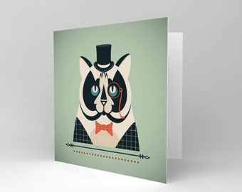 New Gentleman Cat Cartoon Blank Greetings Birthday Card Art Cs354
