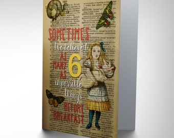 Greetings Card Upcycle Sometimes Before Breakfast Quote Alice Wonderland CP2916