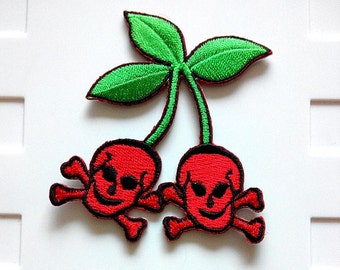 Cherry Skull Rockabilly Wicked Iron On Patch